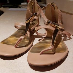 PRE-OWNED Uterque Metal and Rose Sandals